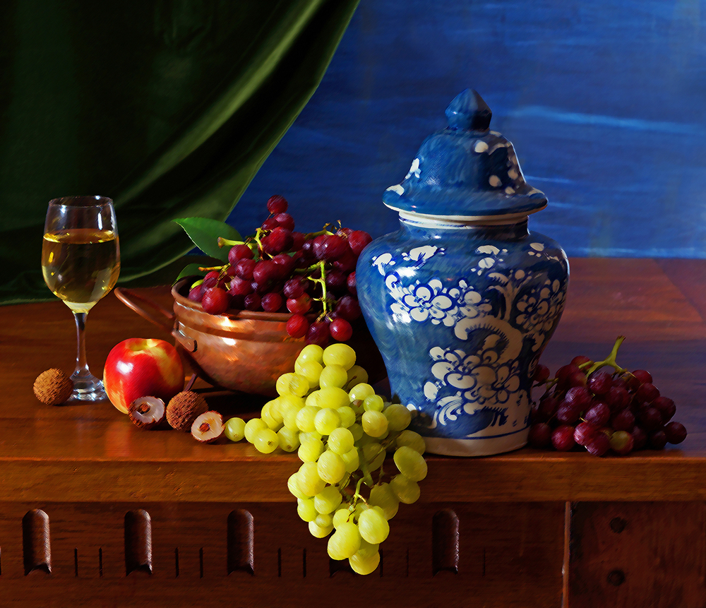 Grapes with Blue Vessel by Graham Munkman