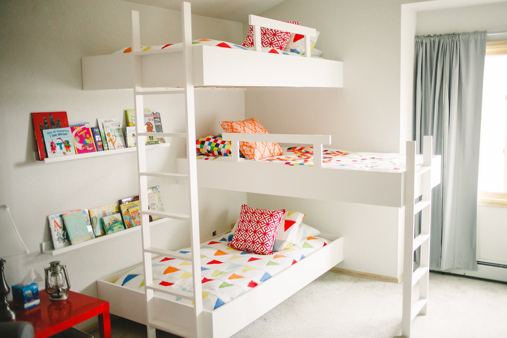 A modern take on a classic staple for kids. Ours love to climb from bunk to bunk.