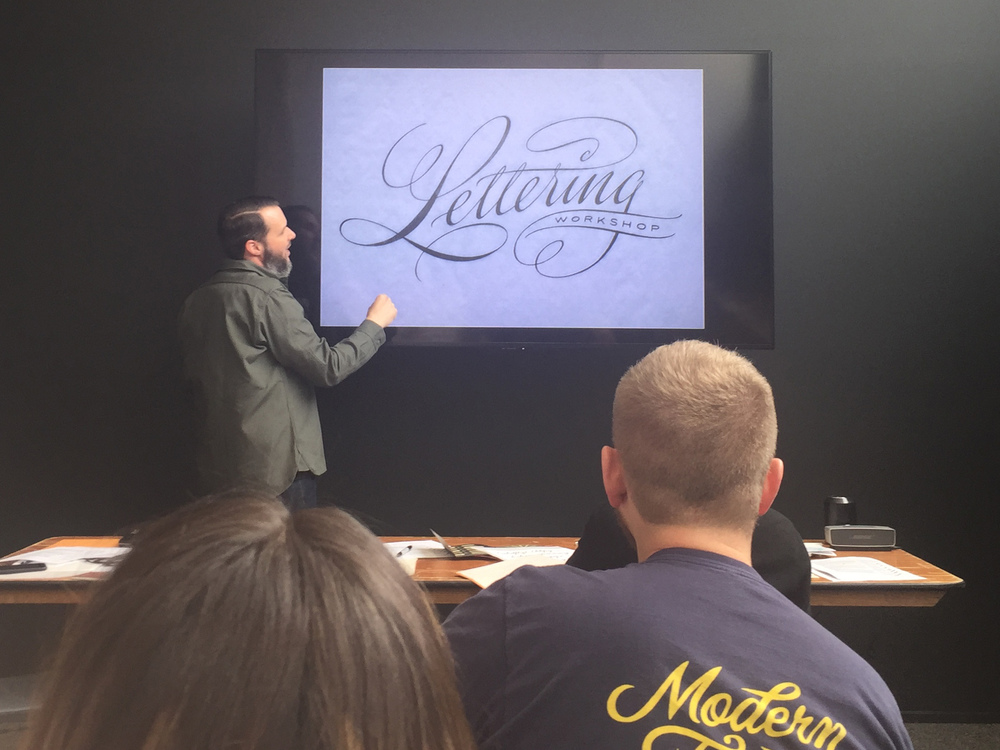 Ken Barber in the Lettering Workshop