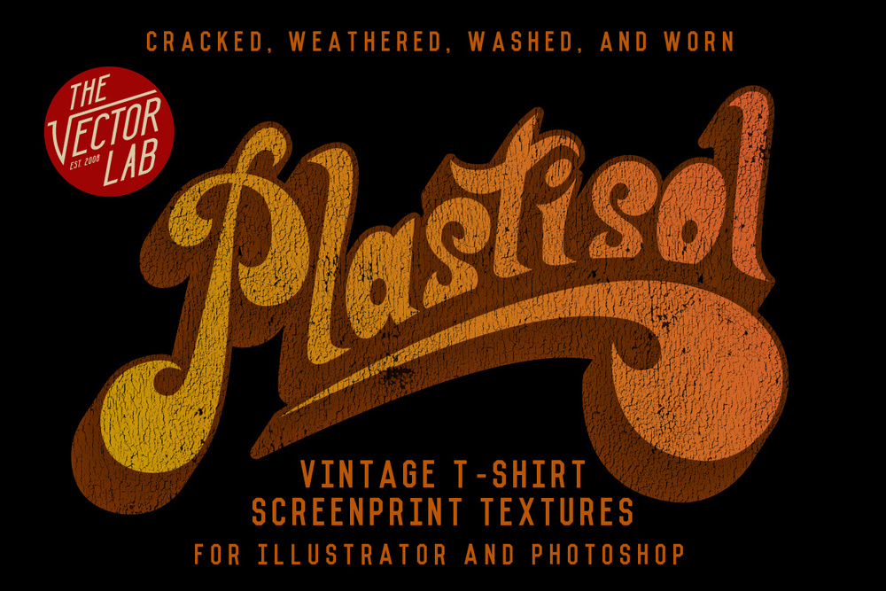 Plastisol vintage cracked ink textures for photoshop and illustrator