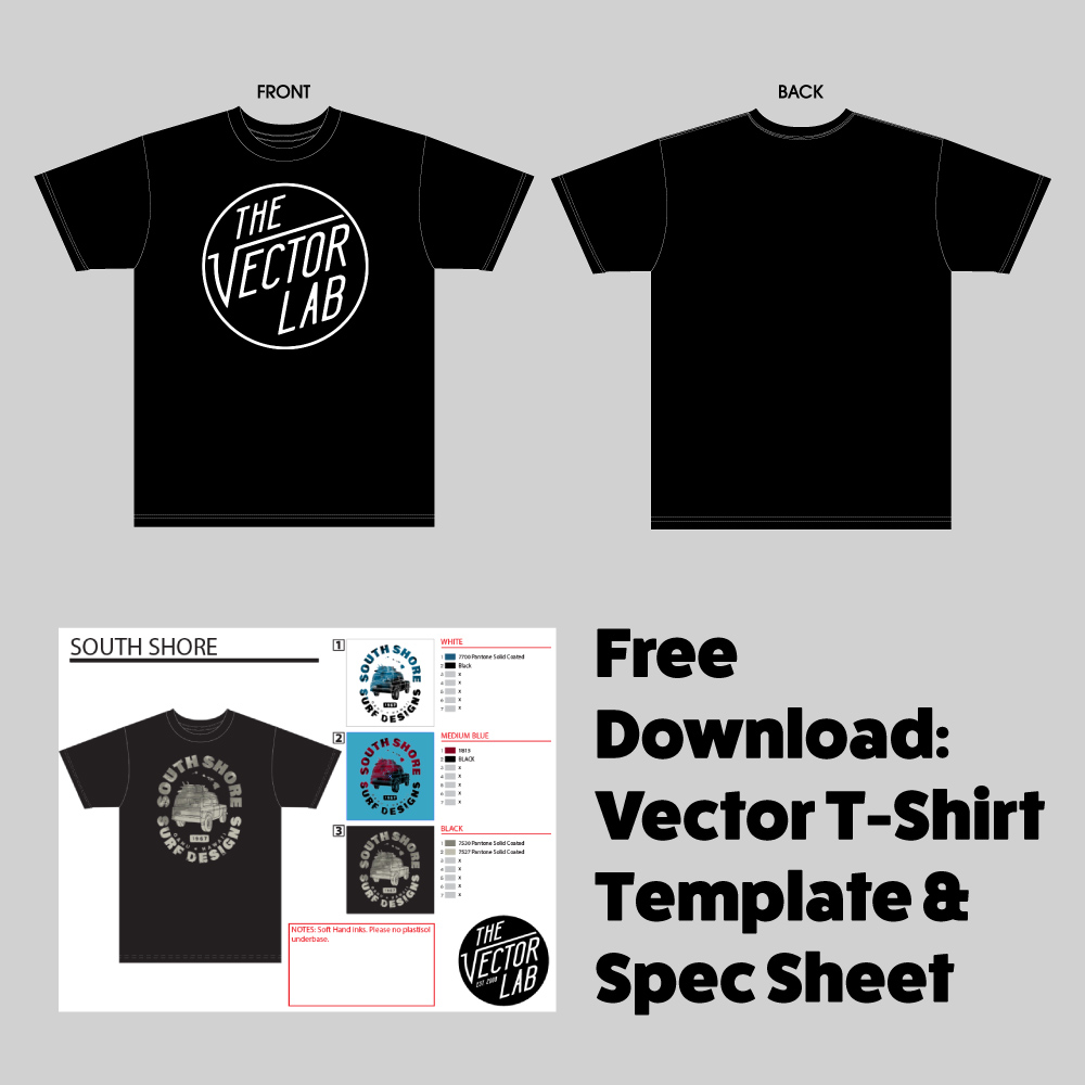 Free Vector T-Shirt Template + T-Shirt Design Workshop Preview — Ray ...