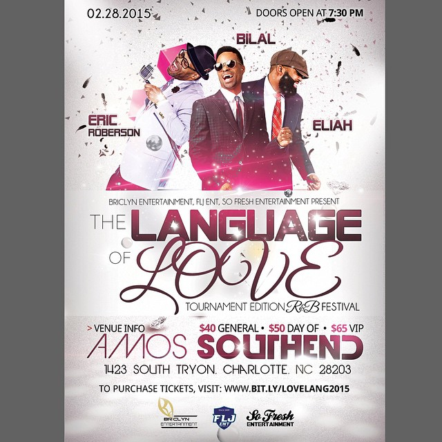 This year's CIAA Tournament festivities will be infused with soul as @briclynent brings the city the Language of Love tour with Eric Roberson  @erro44, Bilal @bilalmusic and Eliah on February  28th in Charlotte, NC at Amos Southend @Amossouthend . If you're in town, THIS is where you want to be! Get your tickets today before they sell out #goodmusic #livemusic #charlottemusic #NCmusic #CIAA2015 #soulmusic