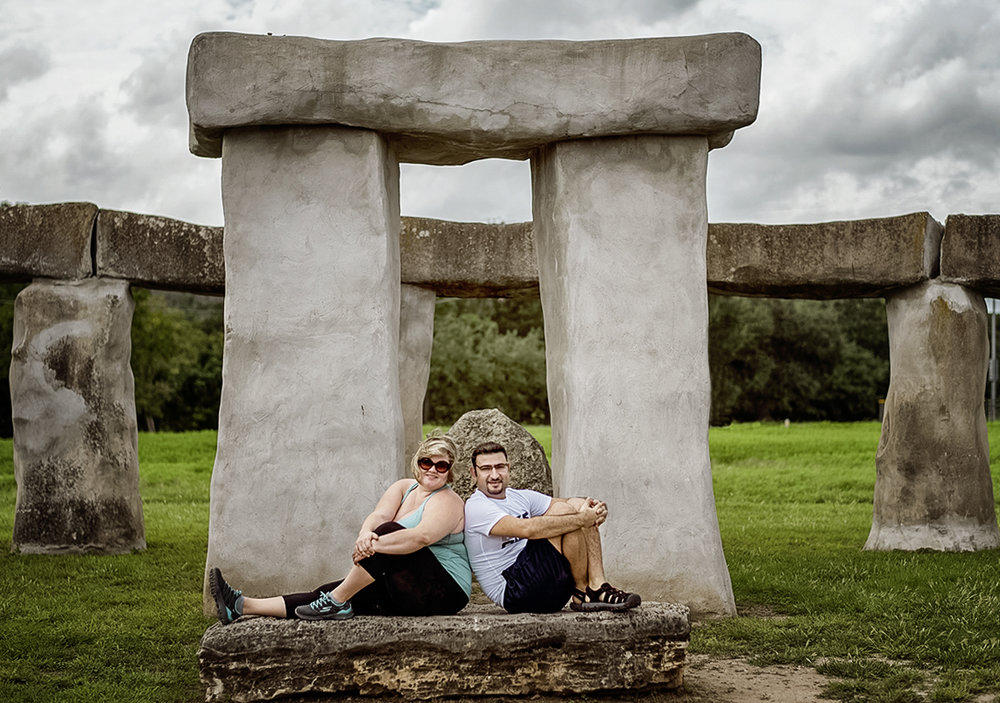 Principal Photographer, Hussain Hijazi, with his wife, Shawna-Leigh. Stonehenge II at the Hill Country Arts Foundation campus in Ingram, TX.