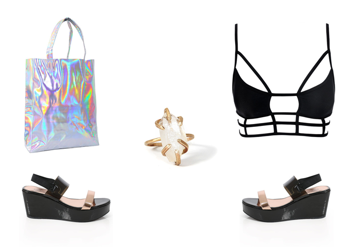 Teleportation Tote ,  Five And Two Gemma Ring ,  Billini Lola Platforms ,  Superman Bodice