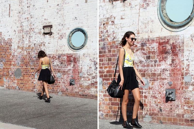 Vacant Lake daffodil bralette / Supre skirt / Rivers boots / Kmart bag / Le Specs sunglasses