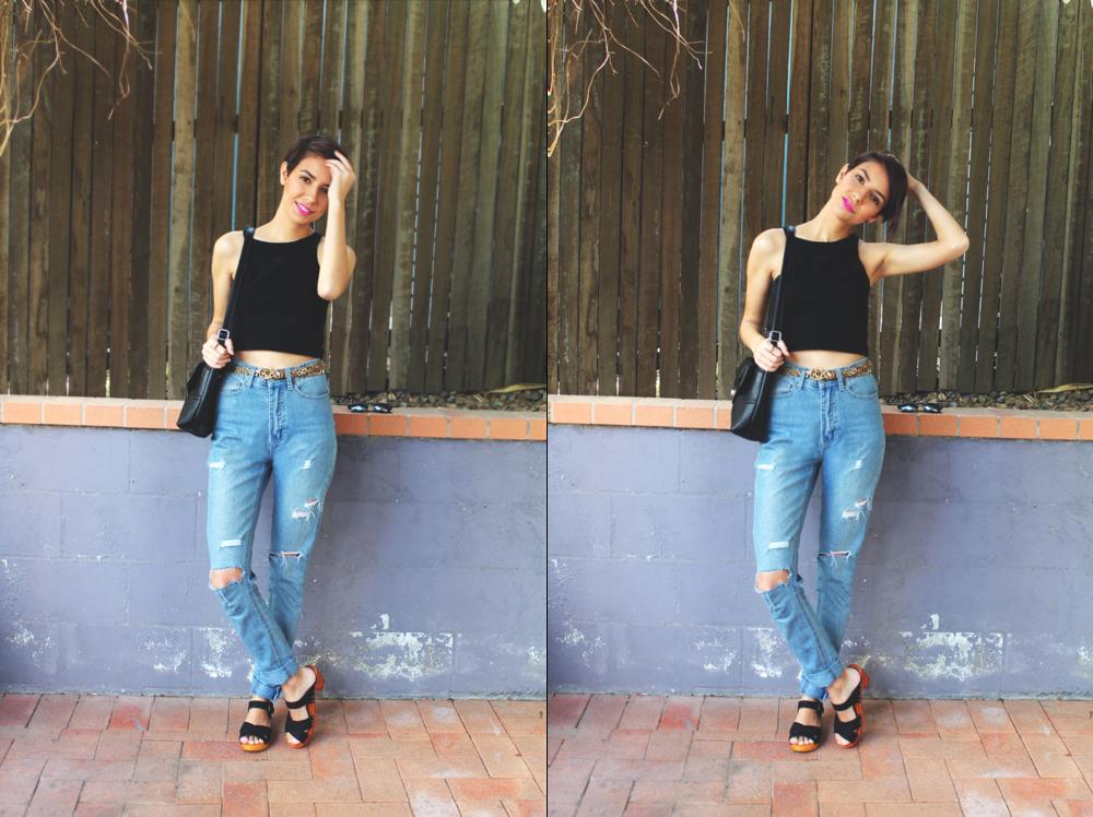 Supre trop / Rivers jeans (DIY) / Big W belt / Lipstik clogs / Strandbags Bag