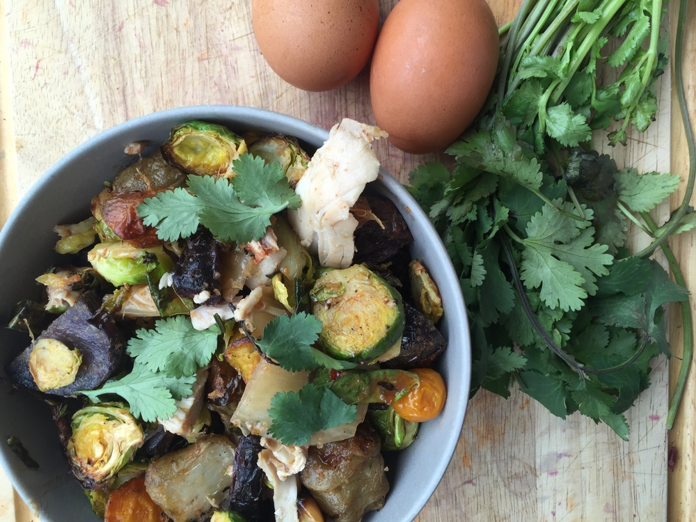 Roasted Brussels, Root Veg + Kimichi Mix