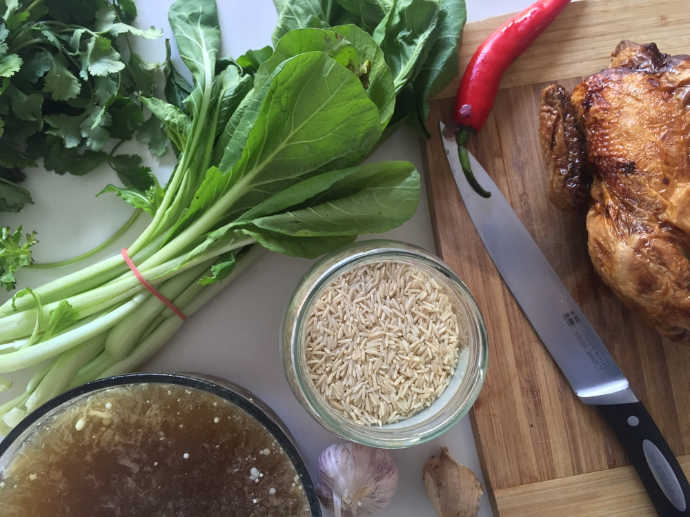 Ginger Chicken Congee with asian greens