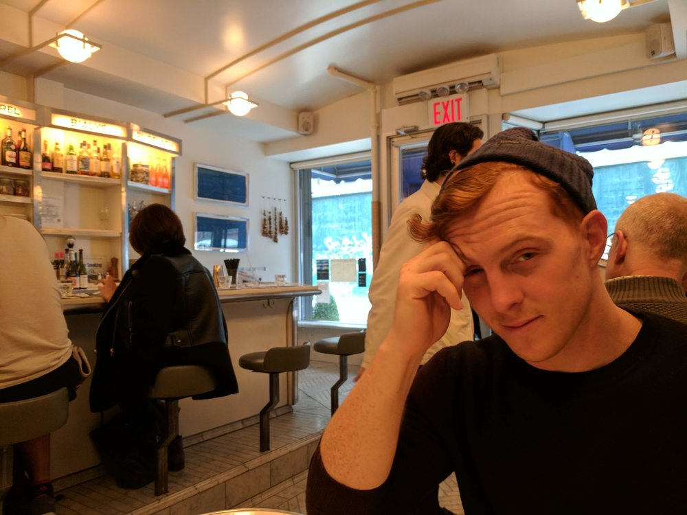 Nick being a  hangry  pants waiting for his brekkie nosh.