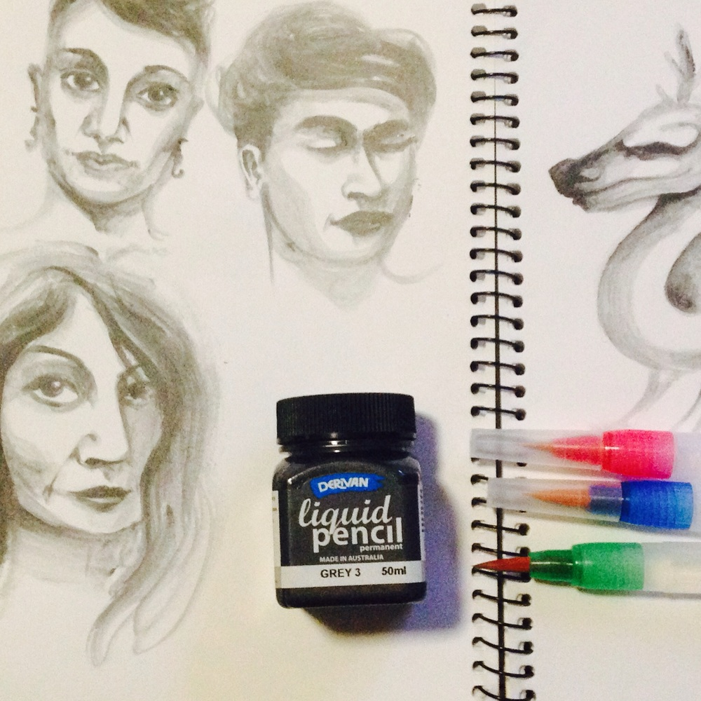 Liquid pencil and water brushes
