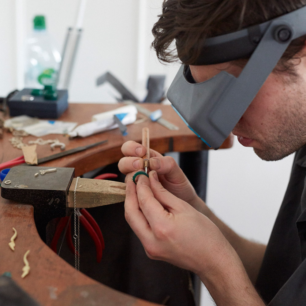 Daniel carves each design from wax using hand tools and scalpels.