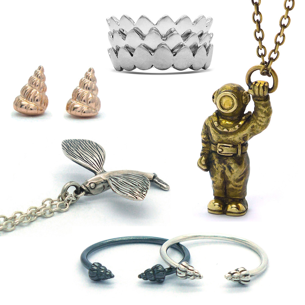 collection of sea theme jewellery.