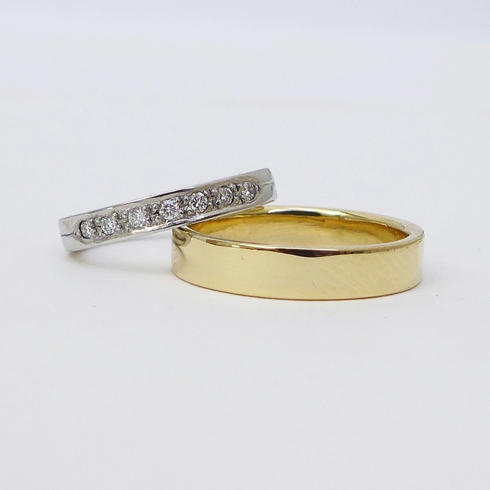 Diamond eternity and yellow gold band