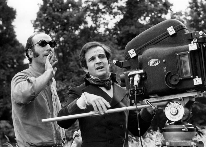 "on the set of ""the wild child"", i can tell by truffaut's outfit.  great black and white photography in this film.  also a great way to learn french since it's a movie about a mute child learning french."