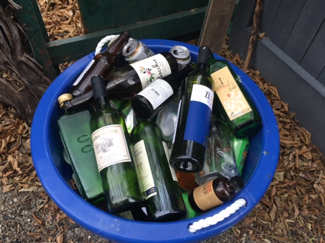 i create a lot of recycling.  its not all alcohol, there is actually a bottle of olive oil in there.