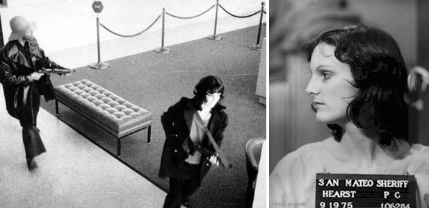 patty hearst robbing a bank with the same people who kidnapped her.  she looks so bad ass with that gun and jacket.