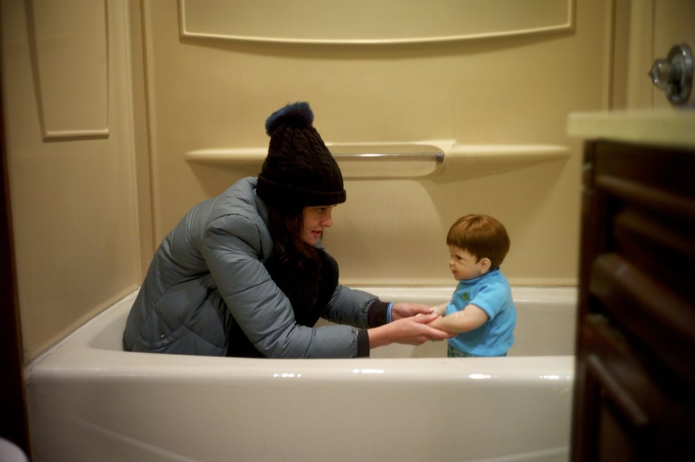 frankie, our brilliant director / lead actress blocks out a scene in which she delivers a monologue while in the bathtub with her child.  This is to be our bittersweet ending.