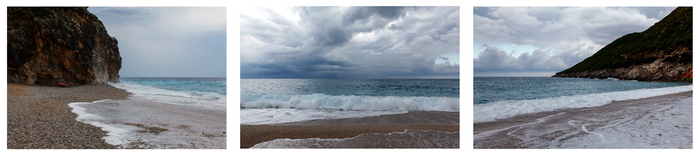 Ionian Sea, Gjipe Albania, Print Triptych #2, each photo 40x26 cm, with borders for framing, in Ultra Premium Photo Paper Luster, with Epson Ultra Chrome K3 ink, Vivid magenta, copyright Alketa Misja 2017