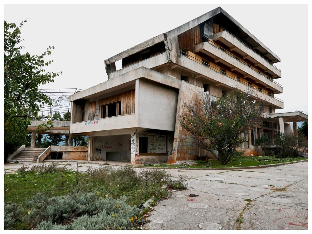 Old Hotel Tourism in Kukes, built during socialism, in the state of abandonment october 2015