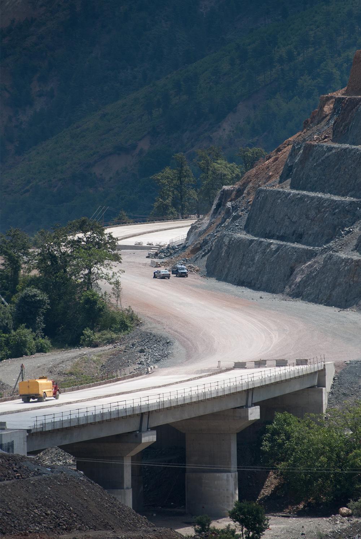 "Fan River Valley, Orosh, Mirditë, fragment during the construction of the road ""Rruga e Kombit"" © alketa misja photography 2008"
