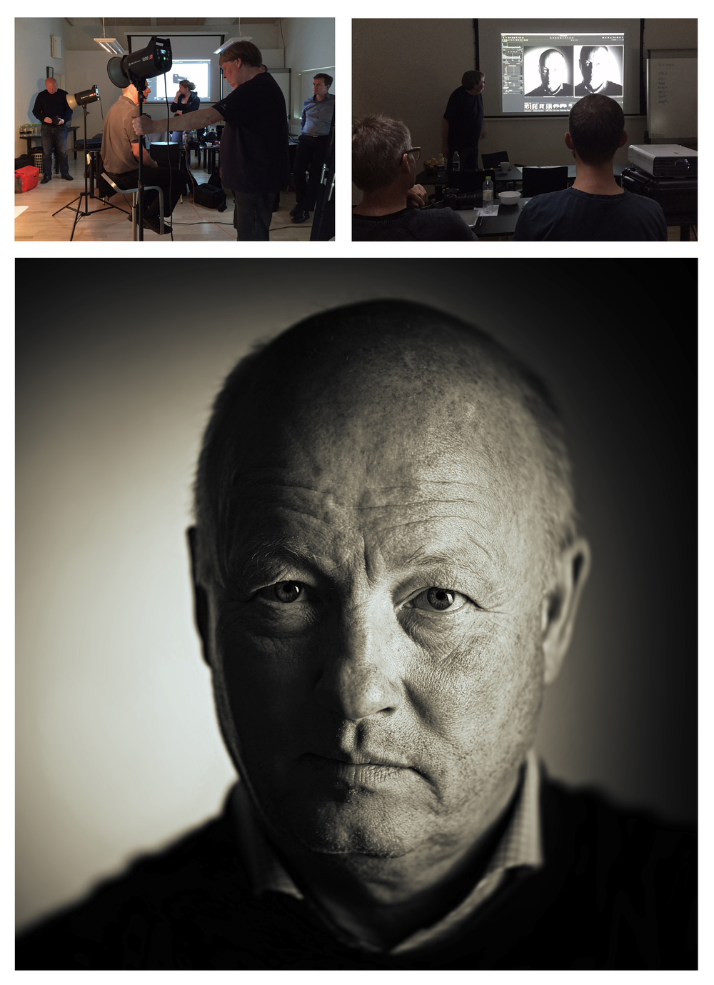 Ole Christiansen underviser og et af mine portrætter fra dagen af Martin, en anden kursist.
