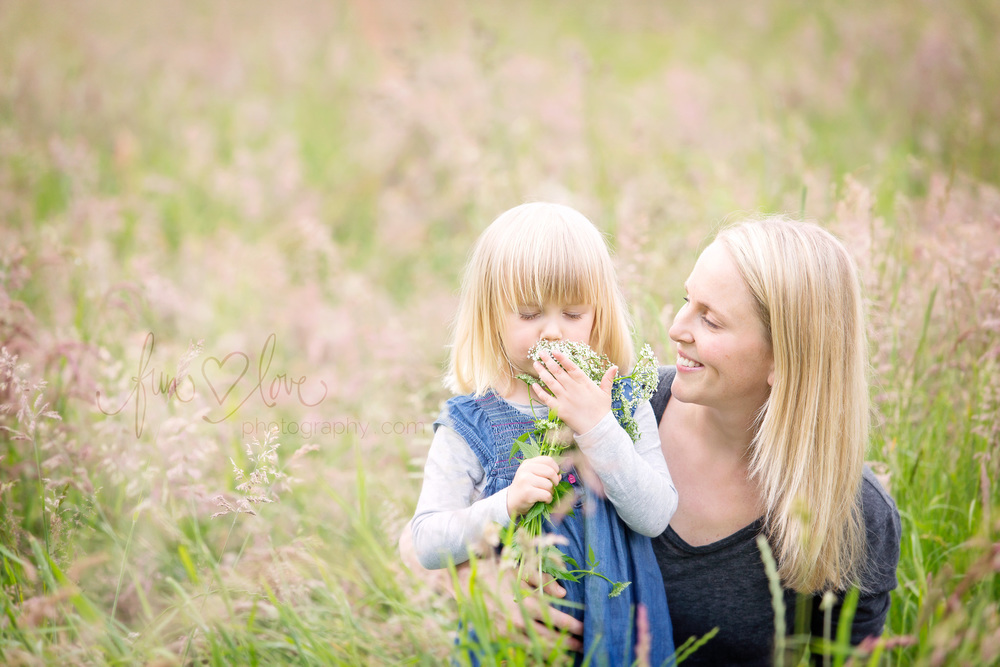 Mother and Daughter Family Photography with Flowers