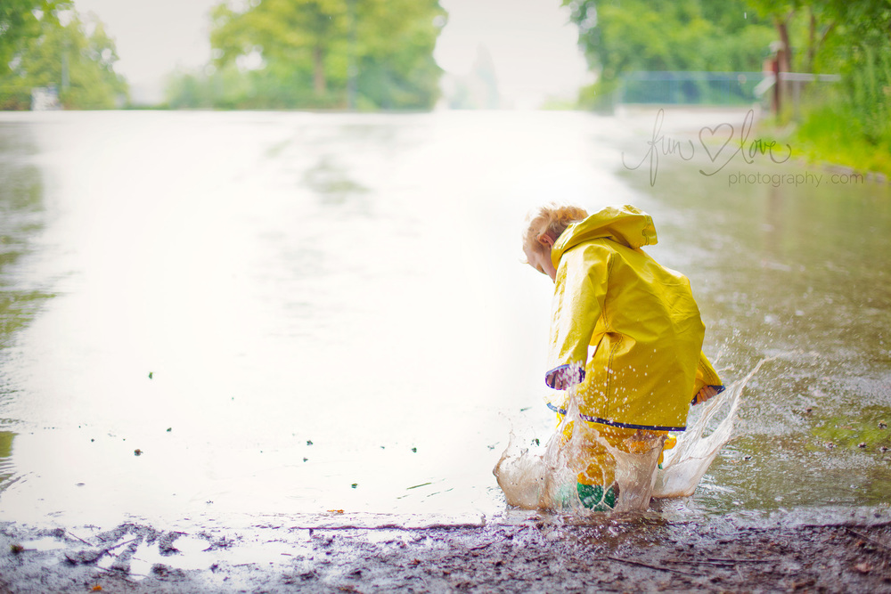 Boy Jumping in Puddle Child Photography
