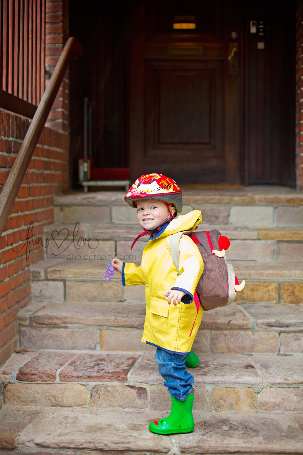 On the front steps - home or school.