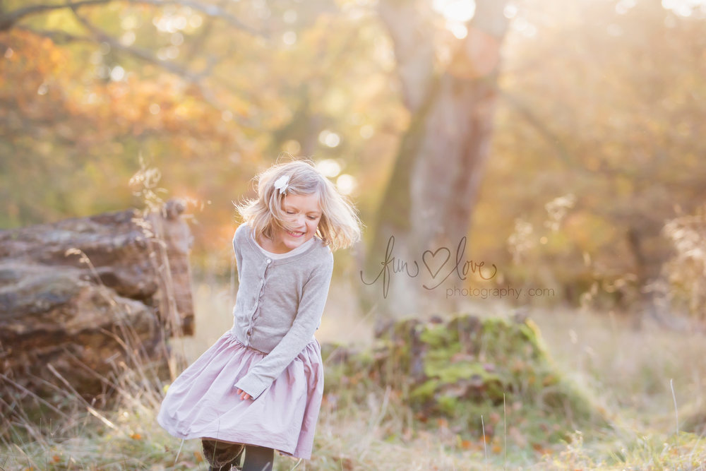 girl dancing in the autumn light