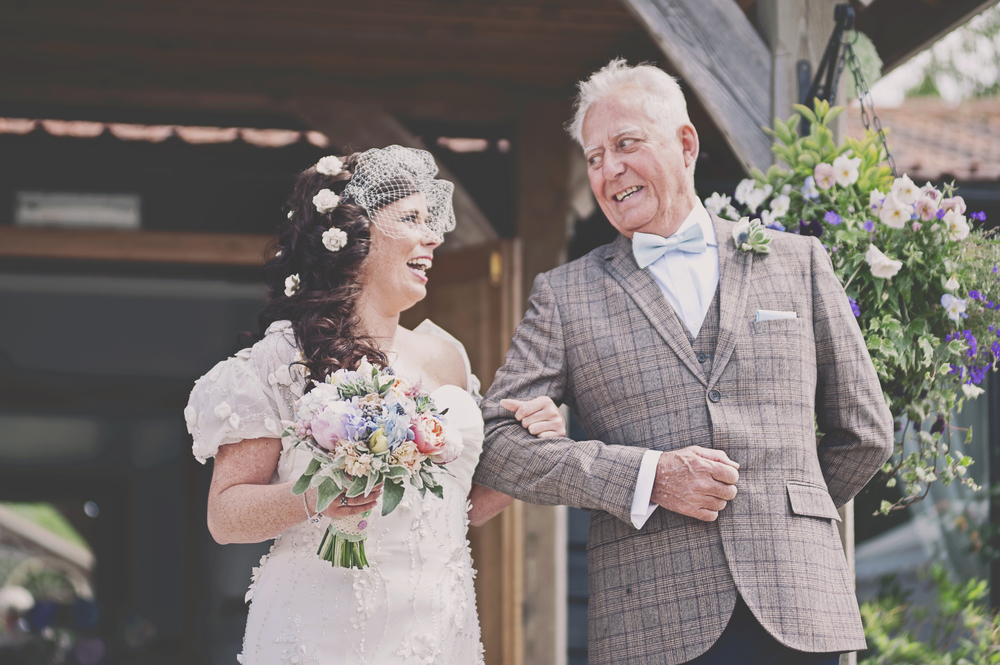 Three Flowers Photography Essex Maidens Barn Wedding Bride and Father