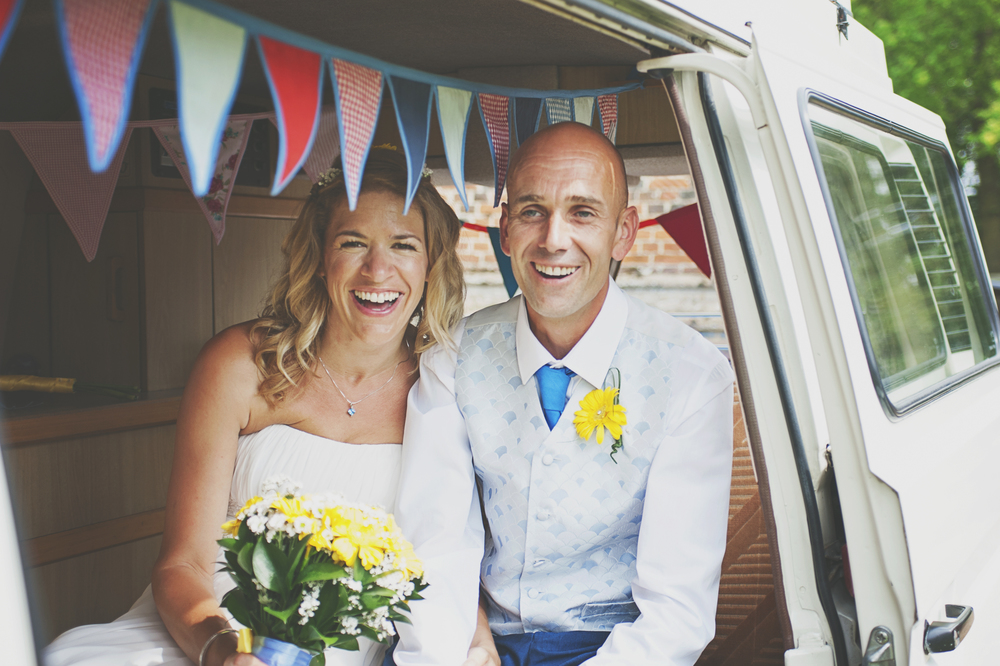 Three Flowers Photography Essex Wedding Camper Van Bride and Groom Bunting