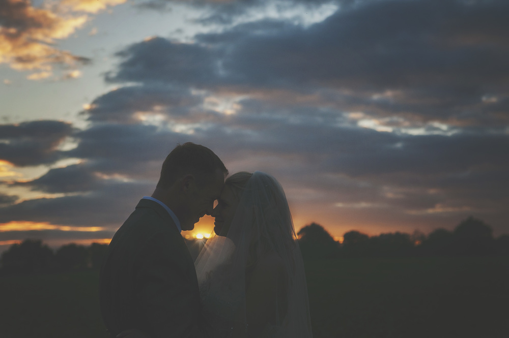 Three Flowers Photography Suffolk Sunset Wedding Silhouette Bride and Groom
