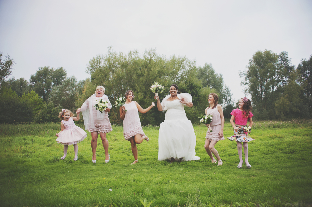 Three Flowers Photography Barn Brasserie Essex Wedding Bride and Bridesmaids