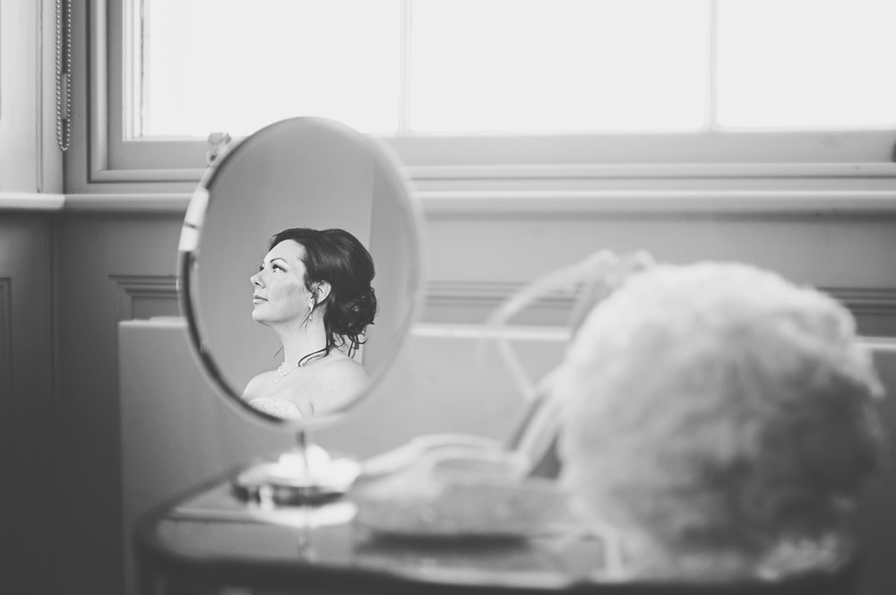 Three Flowers Photography Hylands House Essex Weddings Bride Mirror