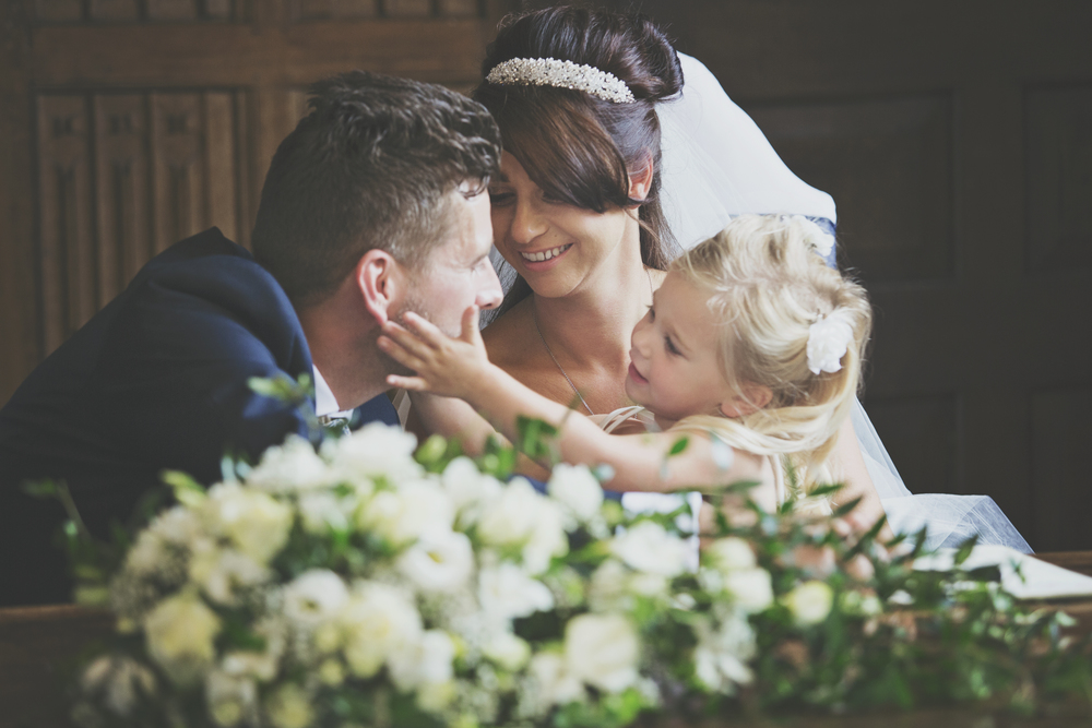 Three Flowers Photography Gosfield Hall Essex Wedding Bride Groom Daughter