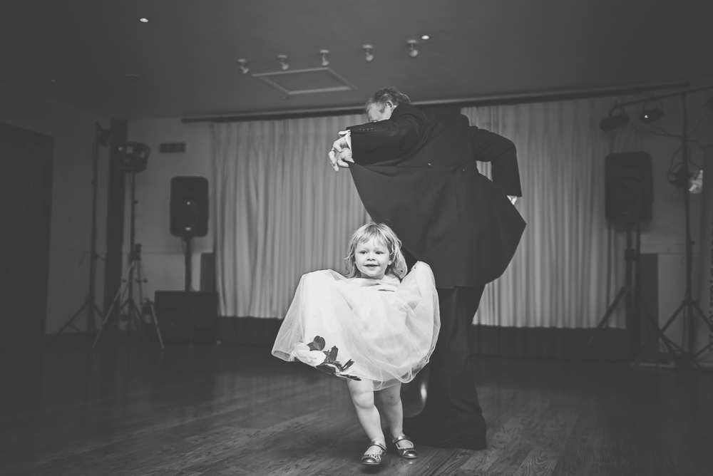 Three Flowers Photography Maidens Barn Essex Wedding Bridesmaid and Grandad on Dance Floor