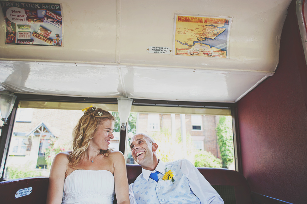 Bride and Groom London Bus Essex Documentary Wedding Photographer