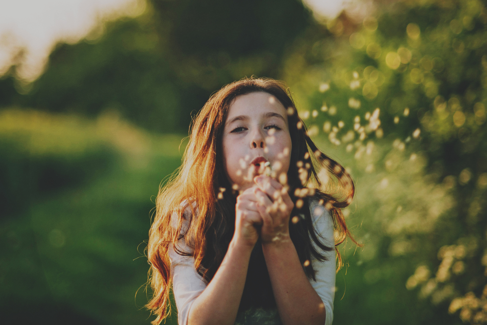 Girl blows dandelion clock at sunset Essex Documentary Portrait Photographer