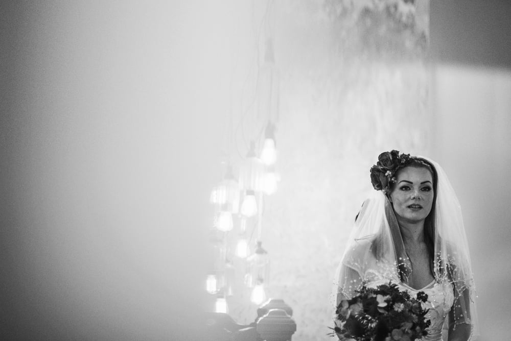 Bride at Christmas London Pub vintage Wedding Essex UK Documentary Wedding Photographer