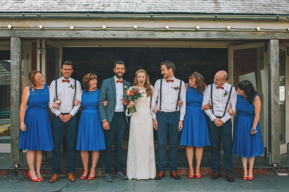Bright Blue Bridesmaids Groomsmen bow ties braces Cliff Barns Norfolk Essex UK Documentary Wedding Photographer