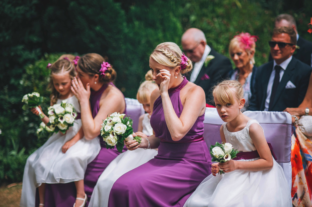 Crying Bridesmaids Wood Hall Suffolk Essex UK Documentary Wedding Photographer
