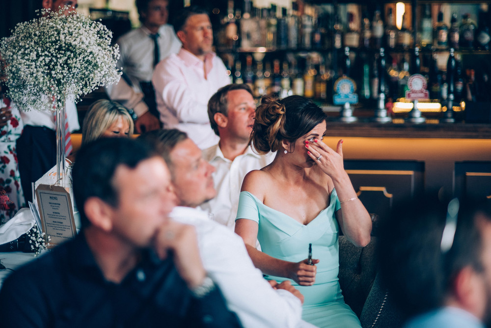 Crying guest Speeches London Pub Wedding Essex UK Documentary Wedding Photographer