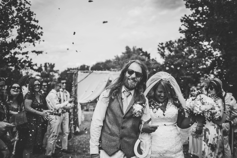 Bride Groom Confetti Festival Wedding Essex UK Documentary Wedding Photographer