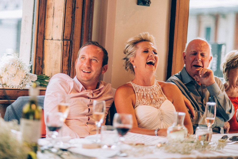 Bride Groom laugh speeches London Pub Essex UK Documentary Wedding Photographer