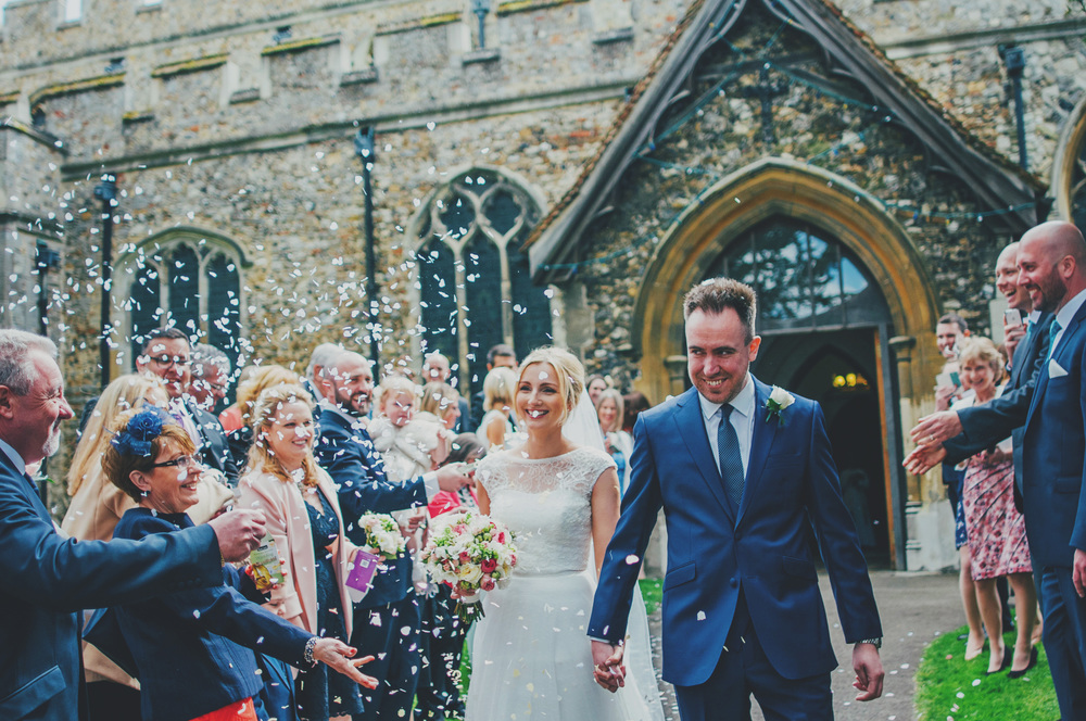 Bride Groom Confetti Blake Hall Rustic Essex UK Documentary wedding Photographer