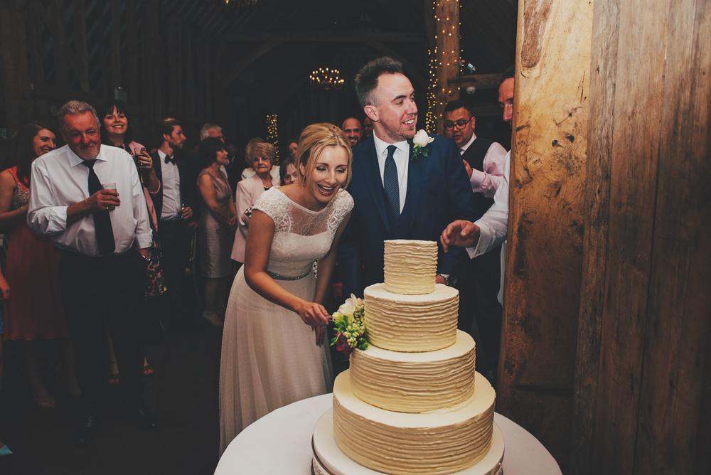 Bride Groom Cut Cake Rustic Essex UK Documentary Wedding Photographer