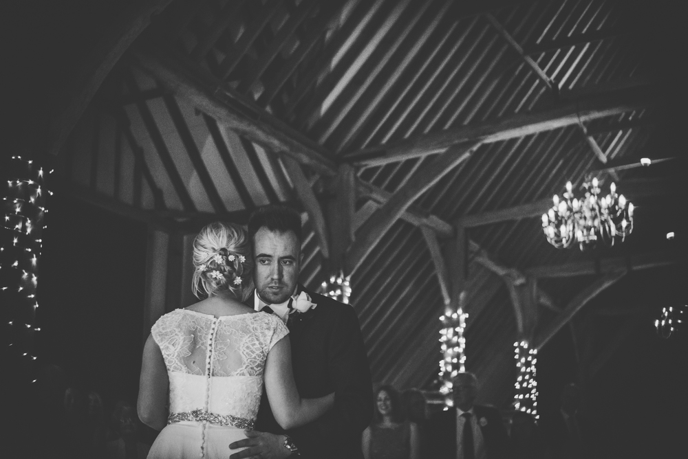 Bride Groom First Dance Rustic Barn Blake Hall Essex UK Documentary Wedding Photographer