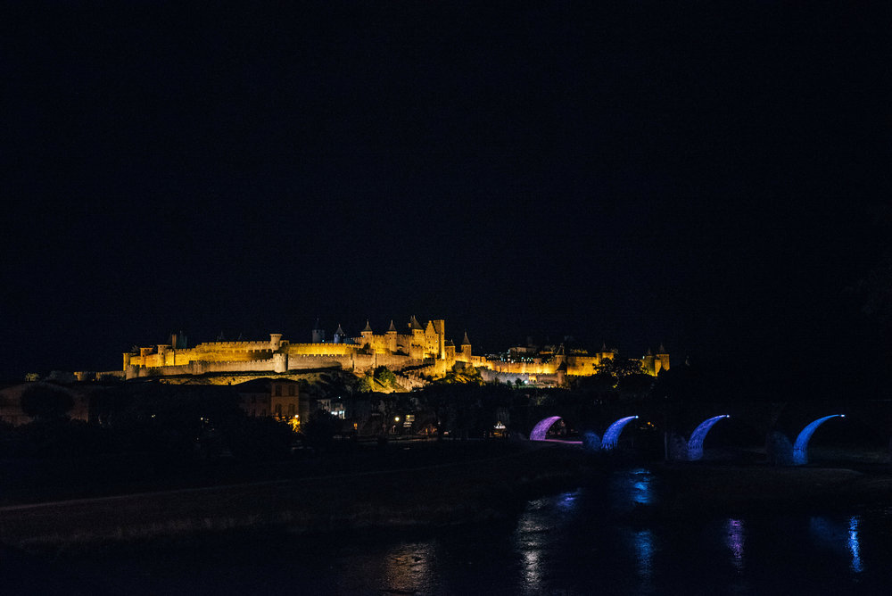 Carcassonne Citadel at night France Essex UK Documentary Photographer
