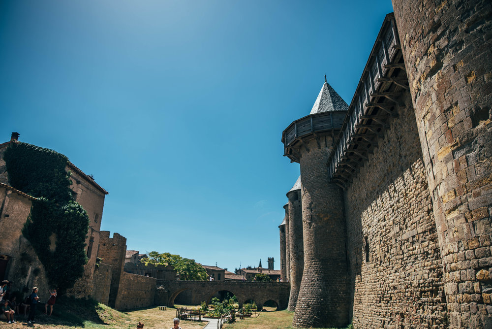 Internal walls of Citadel Carcassonne France Essex UK Documentary Photographer