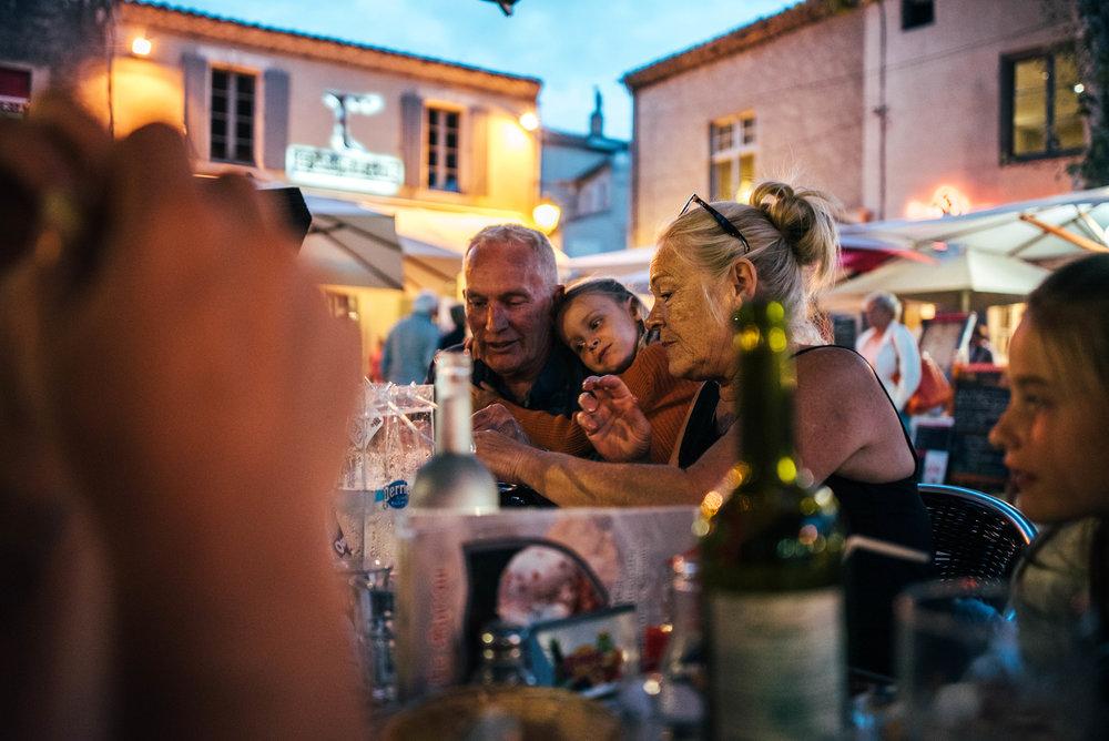 Family eat dinner at Carcassonne Citadel Essex UK Documentary Photographer